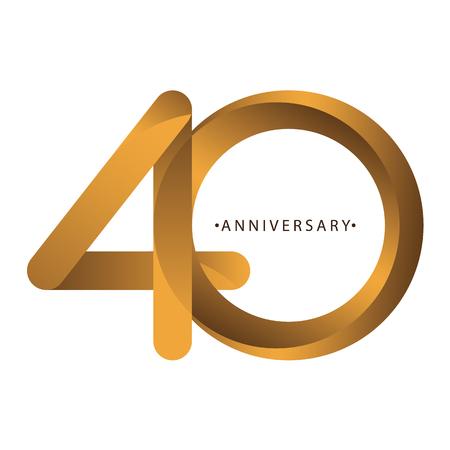 Célébration, anniversaire du numéro 40e anniversaire, anniversaire. Duo de luxe ton or marron pour carte d'invitation, toile de fond, étiquette, logo, publicité ou papeterie