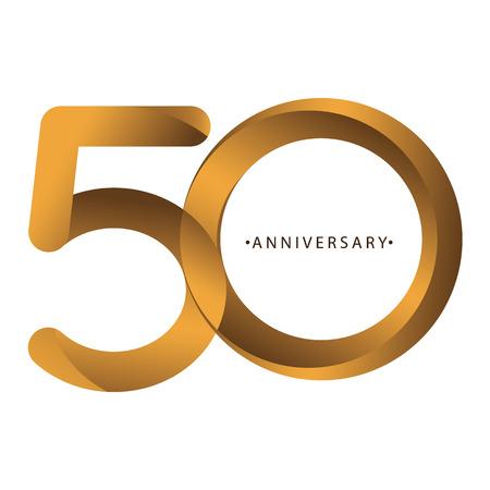Célébration, anniversaire du numéro 50e anniversaire, anniversaire. Duo de luxe ton or marron pour carte d'invitation, toile de fond, étiquette, logo, publicité ou papeterie