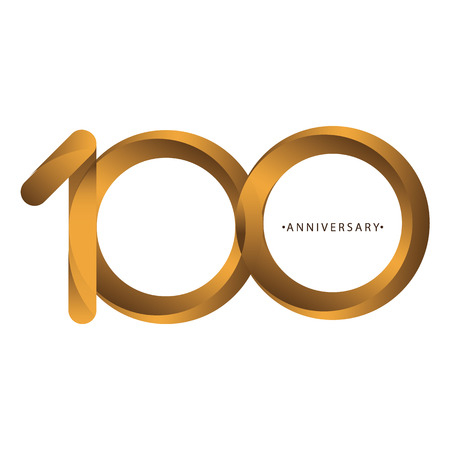 Celebrating, anniversary of number 100th year anniversary, birthday. Luxury duo tone gold brown for invitation card, backdrop, label, logo , advertising or stationary