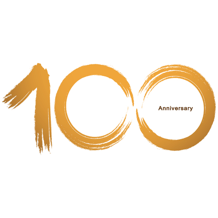 Handwriting - Brush paint celebrating, anniversary of number 100th year anniversary, Luxury duo tone gold brown for invitation card, backdrop, label or stationary Banque d'images - 118374171