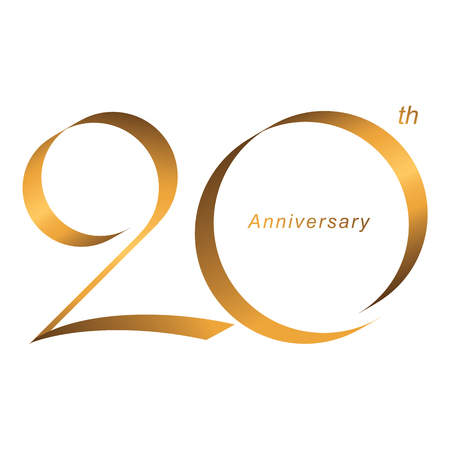 Handwriting, Celebrating, anniversary of number 20th year anniversary, birthday. Luxury duo tone gold brown for invitation card, backdrop, label, logo , advertising or stationary