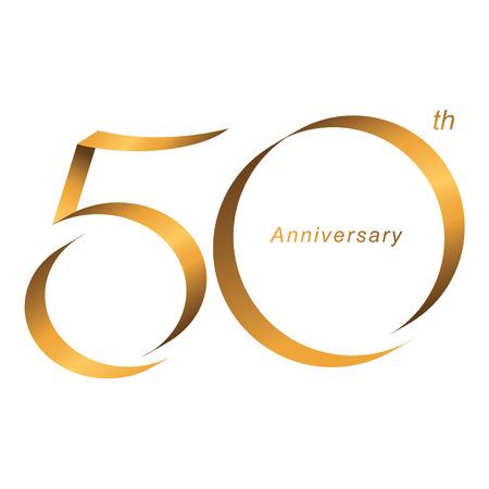 Écriture manuscrite, célébration, anniversaire du numéro 50e anniversaire, anniversaire. Duo de luxe brun doré pour carte d'invitation, toile de fond, étiquette, logo, publicité ou papeterie Logo