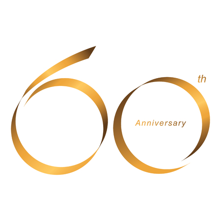Handwriting, Celebrating, anniversary of number 60th year anniversary, birthday. Luxury duo tone gold brown for invitation card, backdrop, label, logo , advertising or stationary