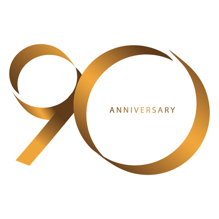 Handwriting, Celebrating, anniversary of number 90th year anniversary, birthday. Luxury duo tone gold brown for invitation card, backdrop, label, logo , advertising or stationary
