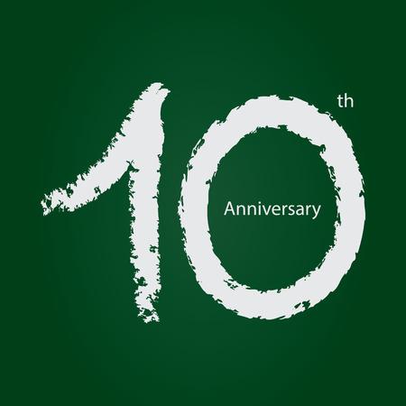Chalkboard anniversary number 10, 10th white on green background Ilustração