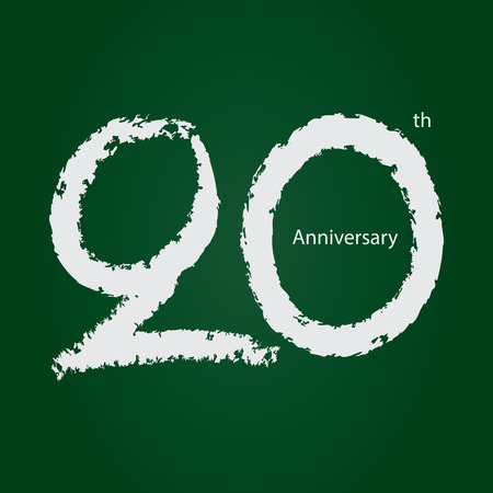 Chalkboard anniversary number 20, 20th white on green background