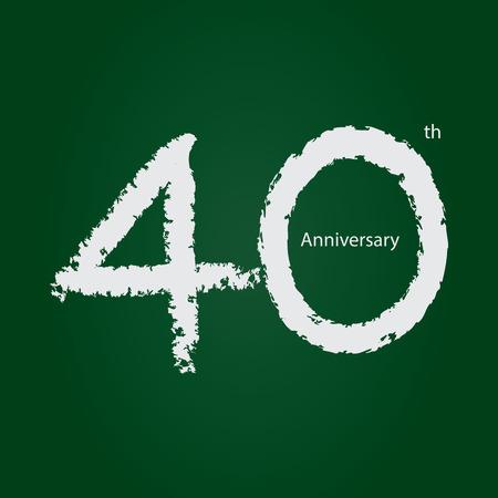 Chalkboard anniversary number 40, 40th white on green background Ilustração