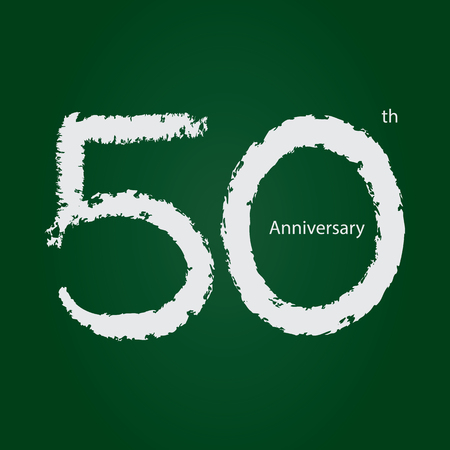 Chalkboard anniversary number 50, 50th white on green background