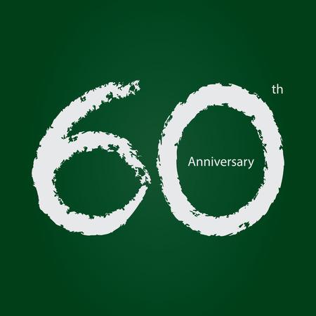 Chalkboard anniversary number 60, 60th white on green background Ilustração