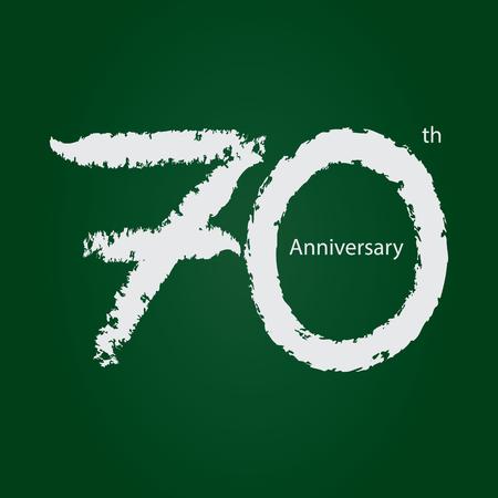 Chalkboard anniversary number 70, 70th white on green background Ilustração