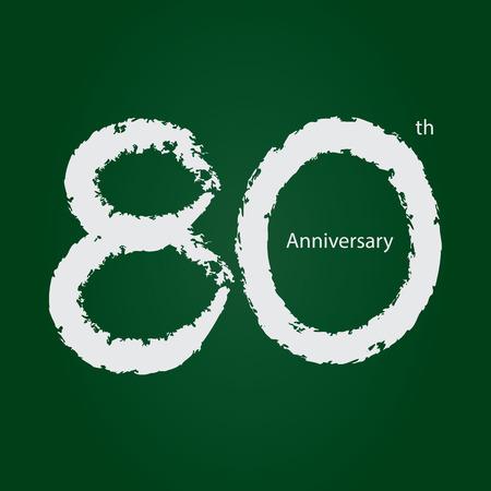 Chalkboard anniversary number 80, 80th white on green background Ilustração