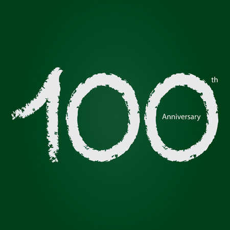 Chalkboard anniversary number 100, 100th white on green background