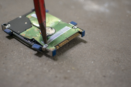 Hard Drive  destruction, Destroy Data - Hard Disk on the floor