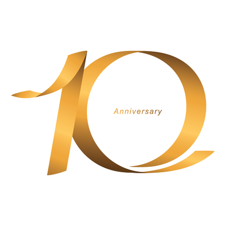 Handwriting, Celebrating, anniversary of number 10th year anniversary, birthday. Luxury duo tone gold brown for invitation card, backdrop, label, advertising or stationary - Vector 矢量图像