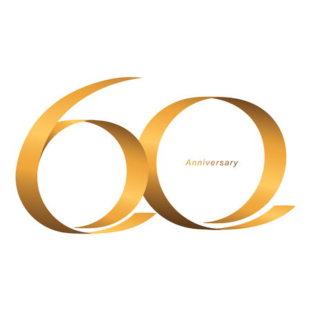 Handwriting, Celebrating, anniversary of number 60th year anniversary, birthday. Luxury duo tone gold brown for invitation card, backdrop, label, advertising or stationary - Vector