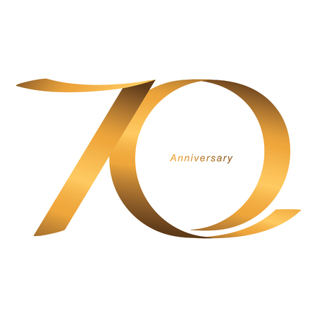 Handwriting, Celebrating, anniversary of number 70th year anniversary, birthday. Luxury duo tone gold brown for invitation card, backdrop, label, advertising or stationary - Vector