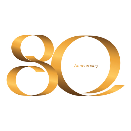 Handwriting, Celebrating, anniversary of number 80th year anniversary, birthday. Luxury duo tone gold brown for invitation card, backdrop, label, advertising or stationary - Vector Ilustração