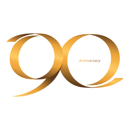 Handwriting, Celebrating, anniversary of number 90th year anniversary, birthday. Luxury duo tone gold brown for invitation card, backdrop, label, advertising or stationary - Vector