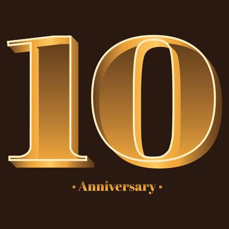 Handwriting, Celebrating, anniversary of number 10 - 10th year anniversary, birthday. Luxury duo tone gold brown for invitation card, backdrop, label, advertising or stationary