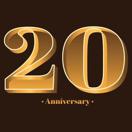Handwriting, Celebrating, anniversary of number 20 - 20th year anniversary, birthday. Luxury duo tone gold brown for invitation card, backdrop, label, advertising or stationary Ilustração