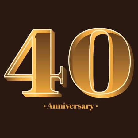 Handwriting, Celebrating, anniversary of number 40 - 40th year anniversary, birthday. Luxury duo tone gold brown for invitation card, backdrop, label,  advertising or stationary