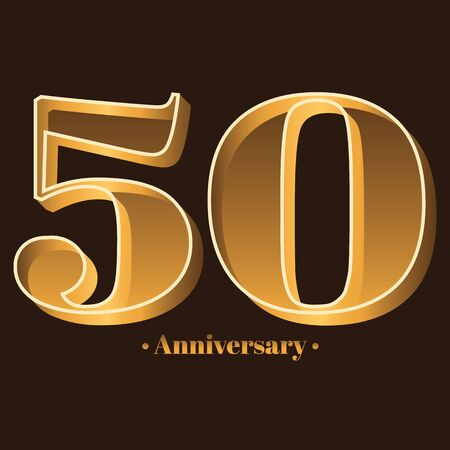 Handwriting, Celebrating, anniversary of number 50 - 50th year anniversary, birthday. Luxury duo tone gold brown for invitation card, backdrop, label, advertising or stationary Ilustração