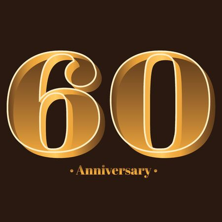Handwriting, Celebrating, anniversary of number 60 - 60th year anniversary, birthday. Luxury duo tone gold brown for invitation card, backdrop, label,  advertising or stationary Ilustração