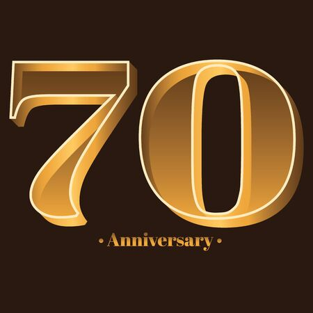 Handwriting, Celebrating, anniversary of number 70 - 70th year anniversary, birthday. Luxury duo tone gold brown for invitation card, backdrop, label,  advertising or stationary