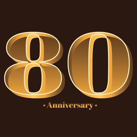 Handwriting, Celebrating, anniversary of number 80 - 80th year anniversary, birthday. Luxury duo tone gold brown for invitation card, backdrop, label,  advertising or stationary Ilustração
