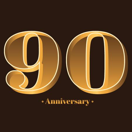 Handwriting, Celebrating, anniversary of number 90 - 90th year anniversary, birthday. Luxury duo tone gold brown for invitation card, backdrop, label, advertising or stationary