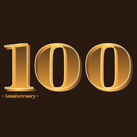 Handwriting, Celebrating, anniversary of number 100 - 100th year anniversary, birthday. Luxury duo tone gold brown for invitation card, backdrop, label, advertising or stationary Ilustração