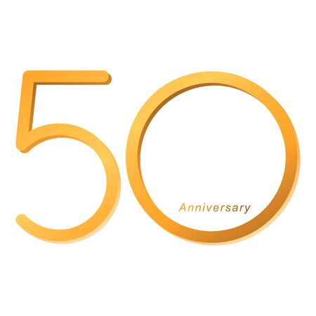 Handwriting celebrating, anniversary of number 50th year anniversary, Luxury duo tone gold brown for invitation card, backdrop, label or stationary Ilustração