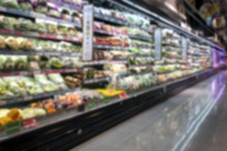 Blur image for background of Super market, Minimart Fresh Vegetable and Fruits section