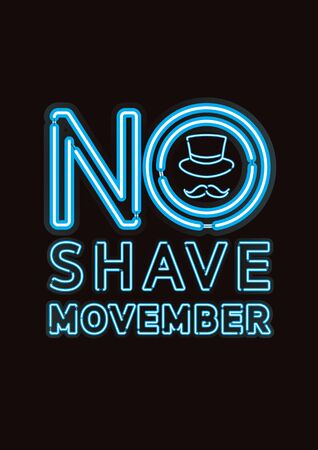 Vector of Movember, No Shave Vintage style with blue neon light