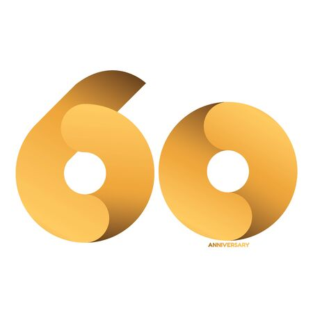 Handwriting celebrating, anniversary of number 60, 60th year anniversary, Luxury duo tone gold brown for invitation card, backdrop, birthday card label or stationary