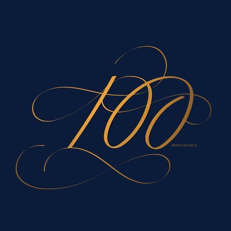 Handwriting celebrating, anniversary of number 100, 100th year anniversary, Luxury duo tone gold brown for invitation card, backdrop, label or stationary