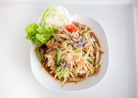 Papaya Salad with Salted Crab Stock Photo