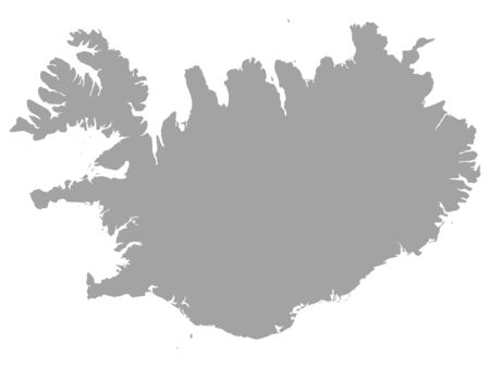 vector illustration of Gray Map of Iceland
