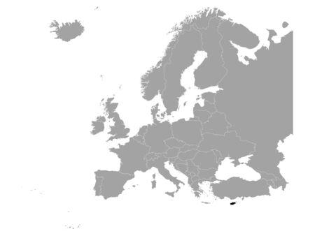 vector illustration of Black map of Cyprus 向量圖像