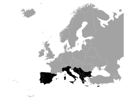 vector illustration of Black map of South Europe countries 向量圖像