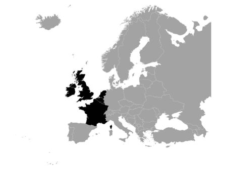 vector illustration of Black map of West Europe countries
