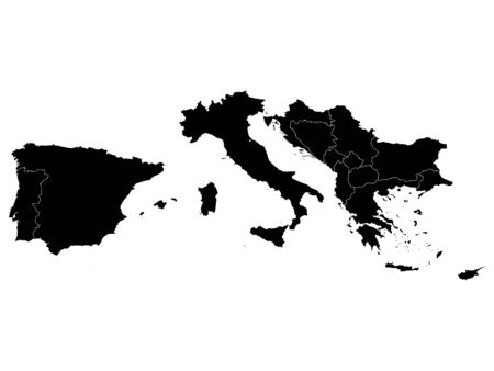 vector illustration of Black map of South Europe on white background