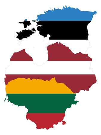 vector illustration of Map of Baltic countries with national flag