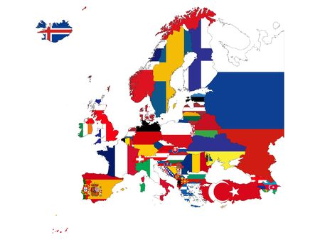 vector illustration of Map of Europe countries with national flag