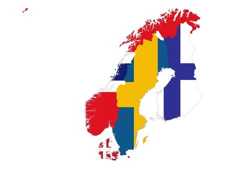 vector illustration of Map of Scandinavia countries with national flag on white background Vektoros illusztráció
