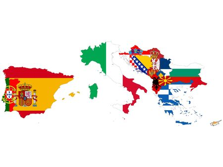 vector illustration of Map of South Europe countries with national flag on white background 向量圖像