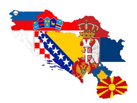 vector illustration of Map of Former Yugoslavia countries with national flag on white background Illustration