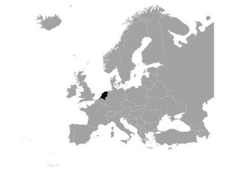 vector illustration of Black map of Netherlands