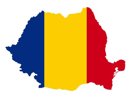 vector illustration of Map of Romania with national flag