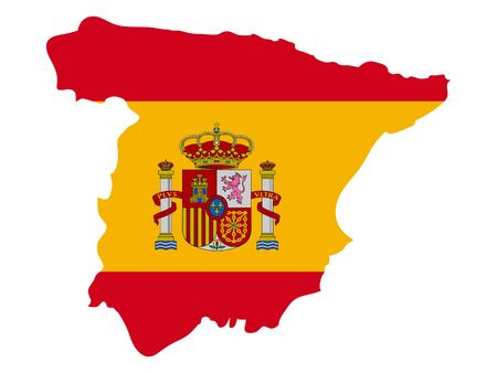 vector illustration of Map of Spain with national flag
